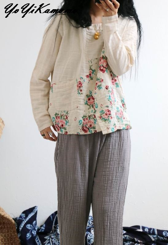 Primavera Yoyikamomo Mujeres Casual De 2018 rosado caqui azul Larga Vintage Lino Manga Floral Original Beige Nuevo Algodón Camisa Tops rqrYxpB