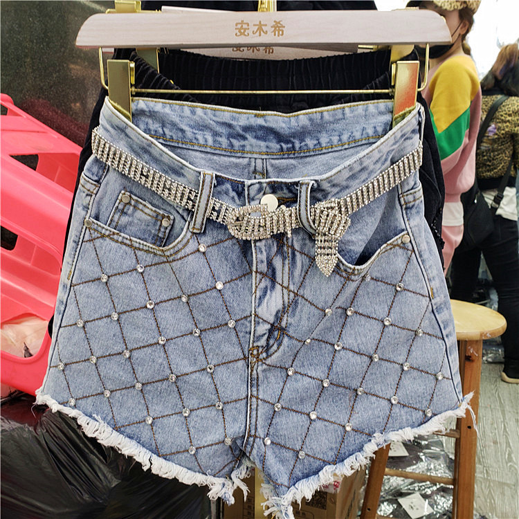 Holes Denim Pants Lady 2019 Spring Summer Clothing New Heavy Studded Bead-fringed Drilled High-waist Slim Nine-cent Jeans Girls Jeans Bottoms