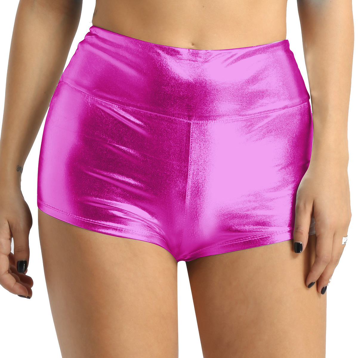Women's Pole Dance Shorts Rave Clothes Shiny High-waisted Pole Dance Gymnastics Workout Rave Clothing Shorts Bottoms For Sports