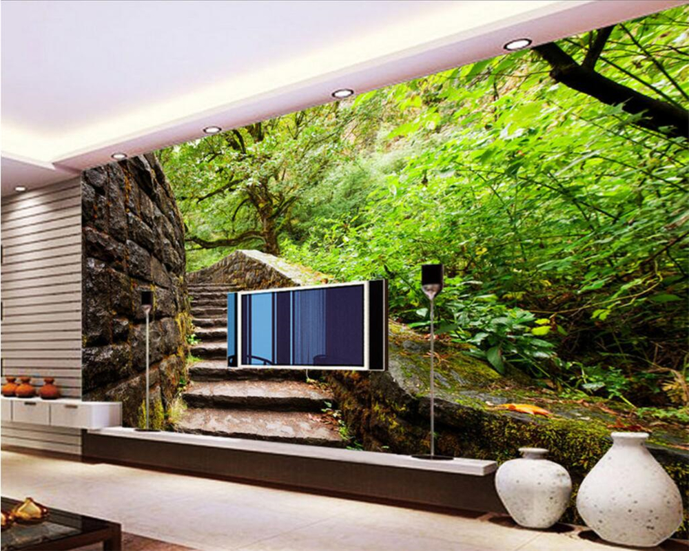 Beibehang Custom Wallpaper Home Decorative Mural Outdoors Woods Stair Stereo Space TV Wall Background Wall mural 3d wallpaper