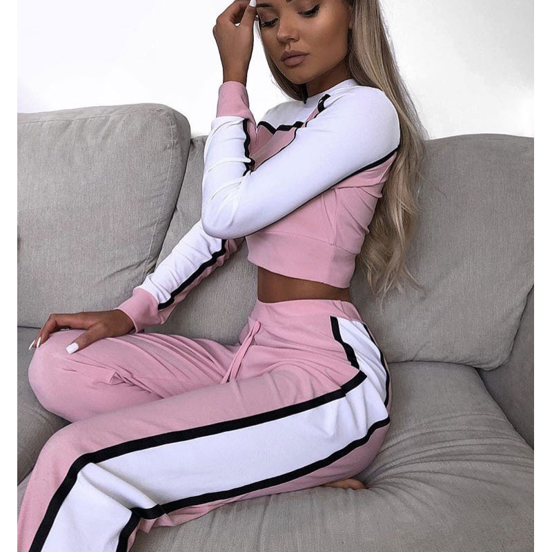 Women's sports suit clothing women clothing set 2 pieces 2019 sportswear Women Tops And Pants Suit Ladies Leisure Suit