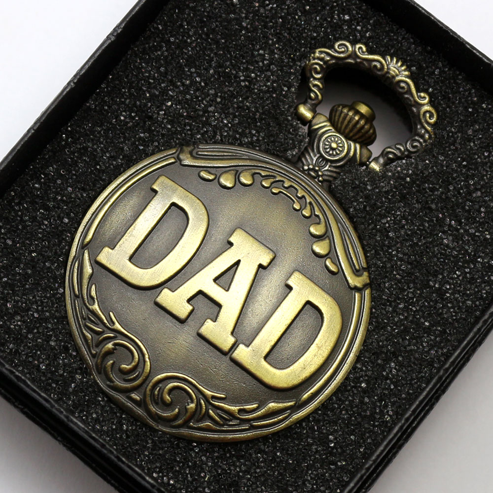 Antique DAD Brown Necklace Quartz Hollow Pocket Watch Bronze Men Pappy Father Gift P05 With Box wholesale fashion quartz eye pyramid fob watches men gift pocket watch necklace women antique retro classic bronze father hot