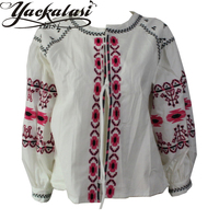 2016 New Design Embroidery Shirt National Trend Embroidered Tassel Loose Lacing Top Fluid Cute Puff Sleeve