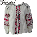 2016 New Embroidered Top Bohemian Style Blouse with tassel loose cute puff sleeve Boho Popular