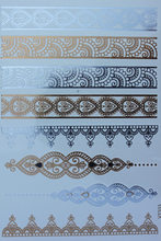 Makeup Body Art Tattoo Flash Henna Girl Beautiful Indian Pattern Temporary Exotic Sexy Tattoo Gold Tattoos Stickers #VT333