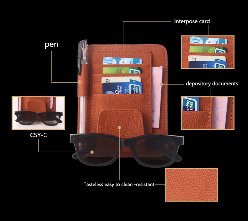 good quality auto car sun visor organizer pouch bag card