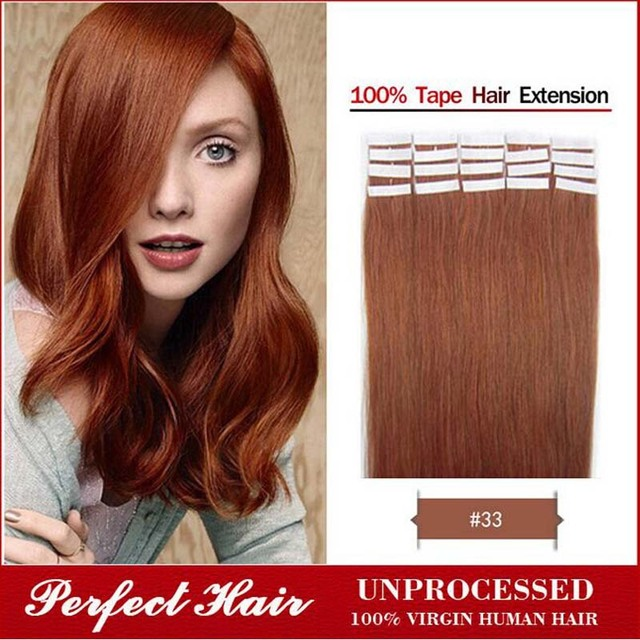 33 Rich Copper Red 16inch 24inch Tape Hair Extensions 20pcs Remy
