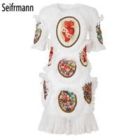 17e1a84a46 ... 2019 Summer Runway White Lace Dresses Women S High Quality Patchwork  Printing Fashion Mini Dress. Seifrmann 2019 lato Runway białe koronkowe  sukienki ...