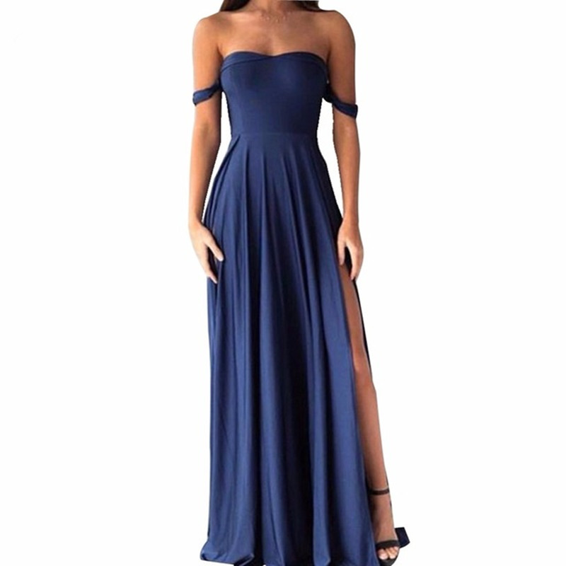 Navy Blue Sweetheart A-Line Side Slit Elastic Satin Bridesmaid Gowns Silver/Coral/Pink/Red Sexy Bridesmaid Dresses Fast Shipping
