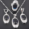 Superb Blue Stone Cubic Zirconia Women's Silver Jewelry Sets Earrings/Pendant/Necklace/Rings Free Shipping QZ030