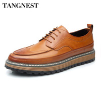 Tangnest Luxury Brand Men Dress Flats British Style Brogue Shoes Man Vintage Split Leather Increasing Platform
