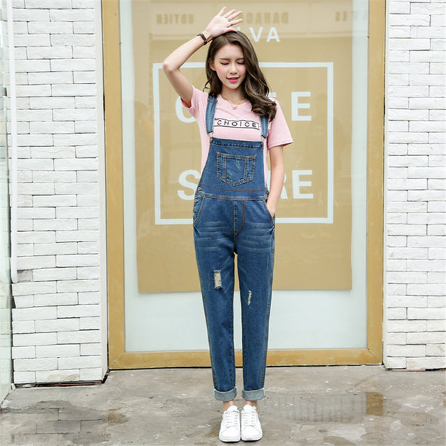 c7be1034acc3 Spring Women Jumpsuit Denim Overalls Vintage Casual Rompers Blue Loose  Jumsuits Denim Pants Ladies Bleached Retro Coveralls