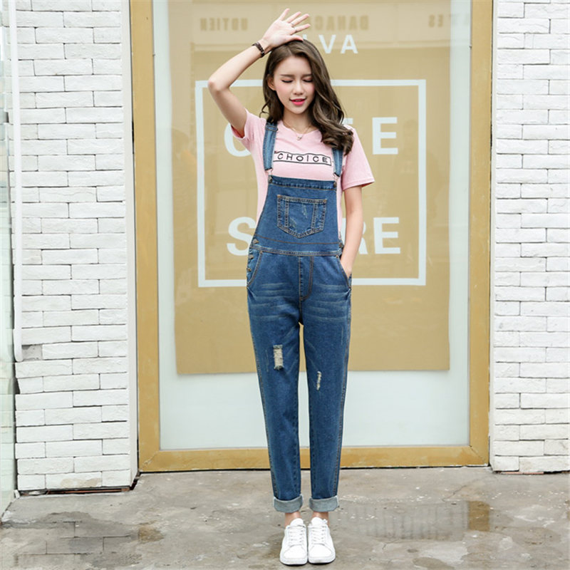 Spring Women Jumpsuit Denim Overalls Vintage Casual Rompers Blue Loose Jumsuits Denim Pants Ladies Bleached Retro Coveralls