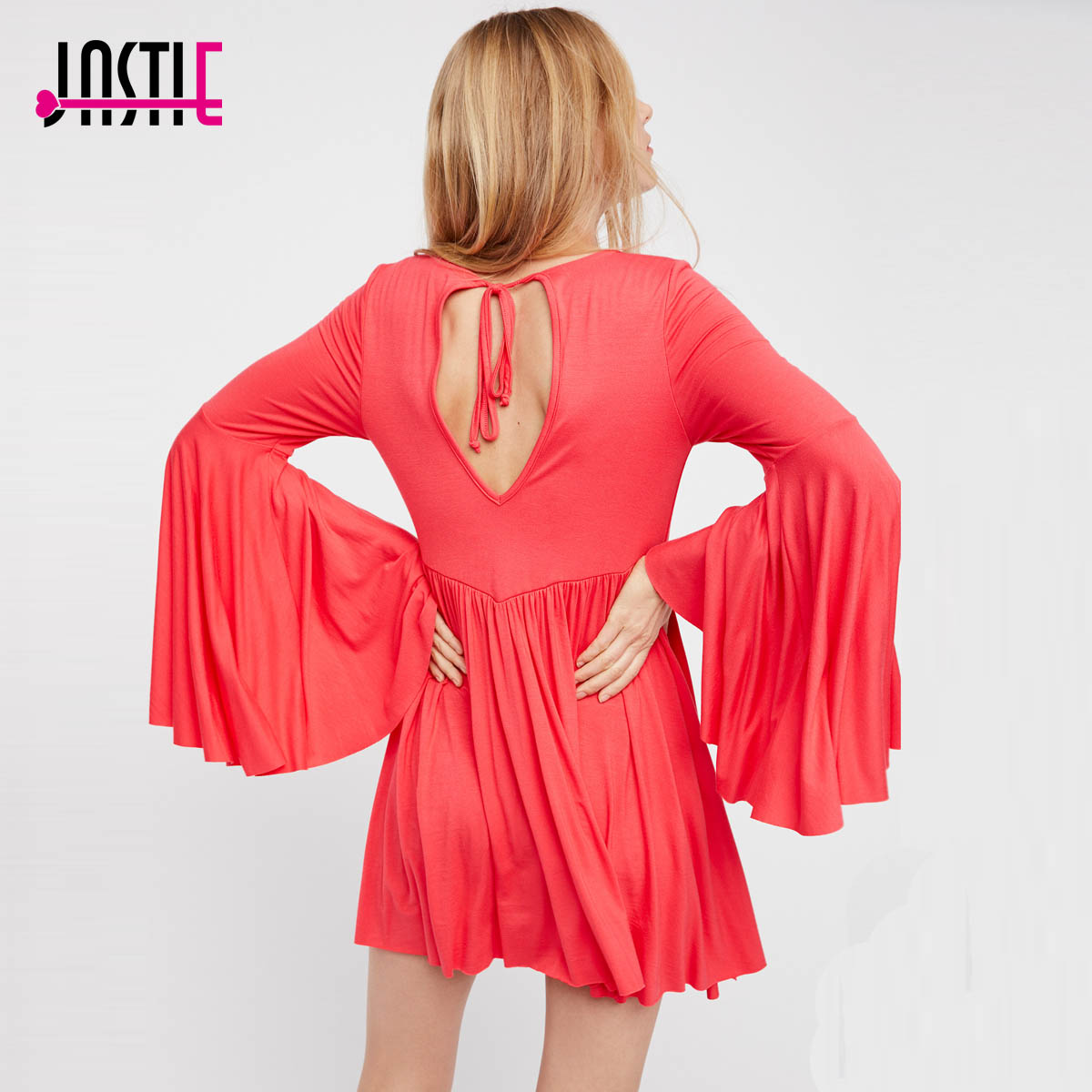 Jastie Babydoll Mini Dress V-Neck Bell Sleeve Short Dress Unfinished Trim Boho People Casual Beach Dresses 2017 Women Vestidos