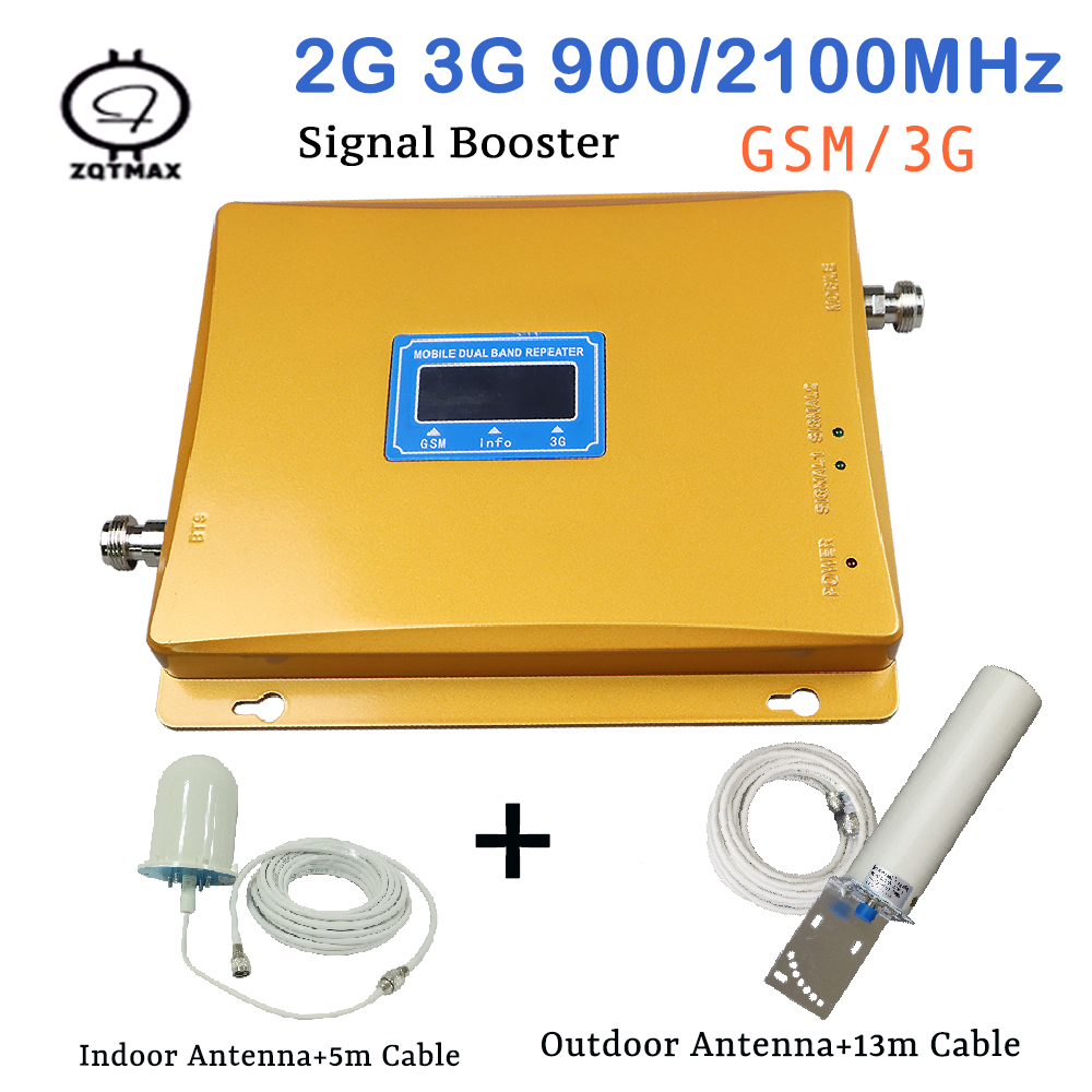 LCD Display Full Set 3G W-CDMA UMTS 2100MHz 2G GSM 900Mhz Dual Band Cell Phone Signal Repeater Data Signal Booster With Antenna