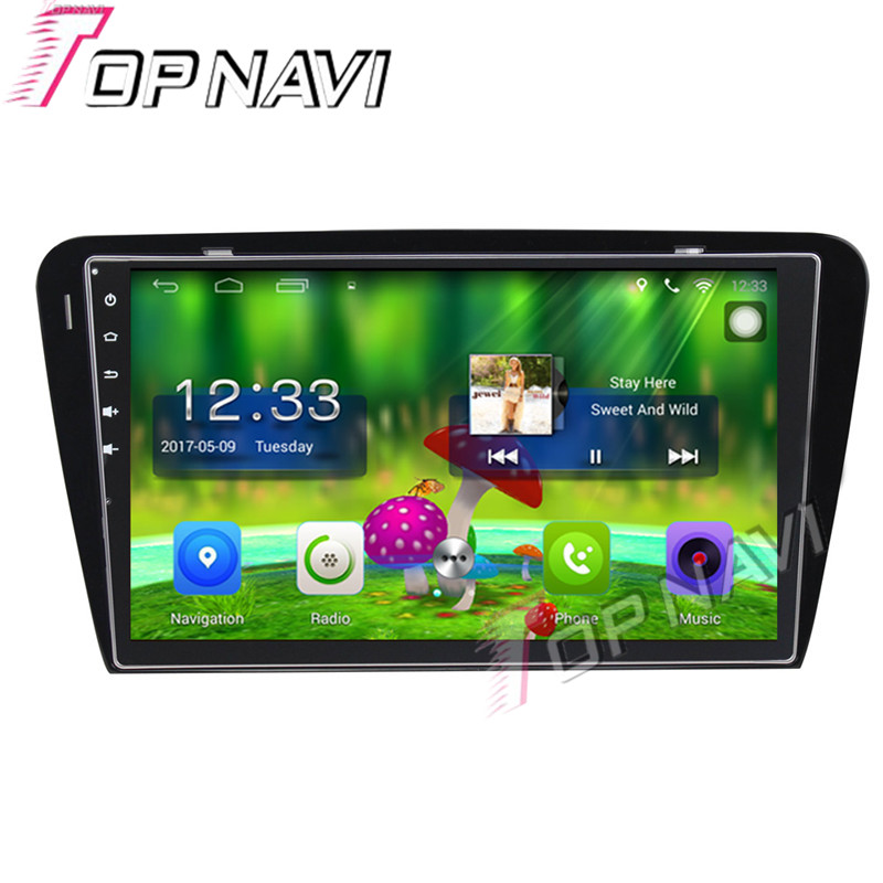 Topnavi 10.1'' Quad Core Android 6.0 Car GPS Navigation For Skoda Octavia 2014 2015 Radio Audio Multimedia Stereo Without DVD