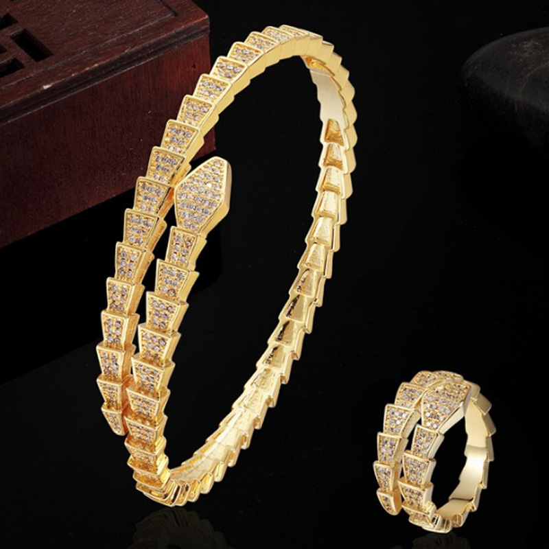 Copper Snake Bangles Brand micro pave setting Bracelet jewelry set  Wedding Bridal Zircon Anel aneis Jewelry Puseira Mujer