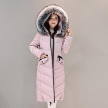 2017 Autumn Winter New Fahion Girls's Down Jacket Hooded Cotton Lengthy Fur Collar Slim Girls Parkas Zipper Girls Outwear Parkas