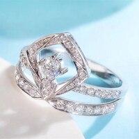 EDI Real Diamond Engagement Wedding Ring 18K White Gold Luxury Crown Water Drop Diamond Ring For Women Wedding Gift Jewelry