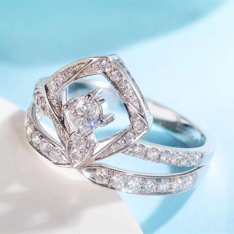 EDI réel diamant bague de fiançailles de mariage 18 K or blanc de luxe couronne goutte d'eau bague en diamant pour les femmes cadeau de mariage bijoux