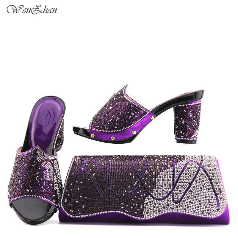 Latest Purple Color Italian Shoes With Matching Bag Set Decorated Wth Rhinestone 2018African Wedding Shoes and Bag Sets T712-23