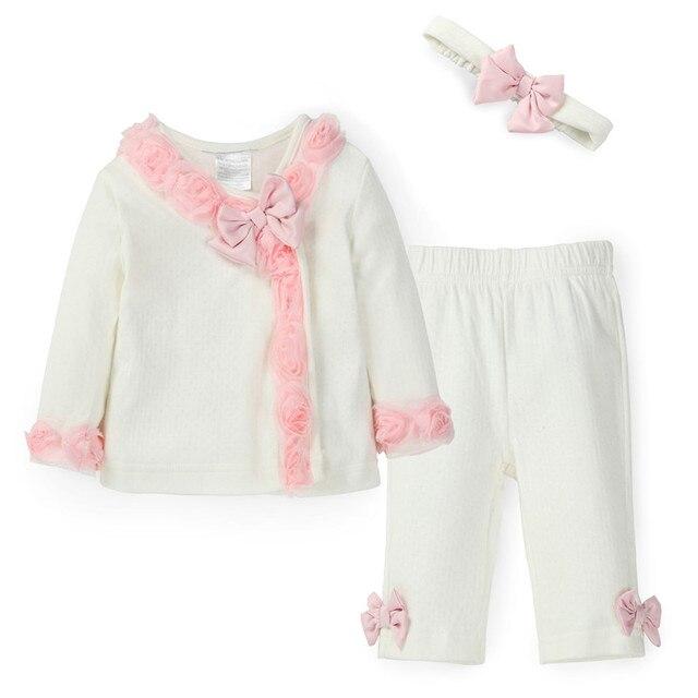 В стиле принцессы Одежда для новорожденных девочек 3 шт. комплект милые цветы топ с бантом, штаны и повязка на голову белые детские cirls костюм для весны