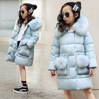 2018 new Blue Children Winter Jacket Girl Winter Coat Kids Warm Thick Fur Collar Hooded long down Coats For Teenage 6 8 10 12 14