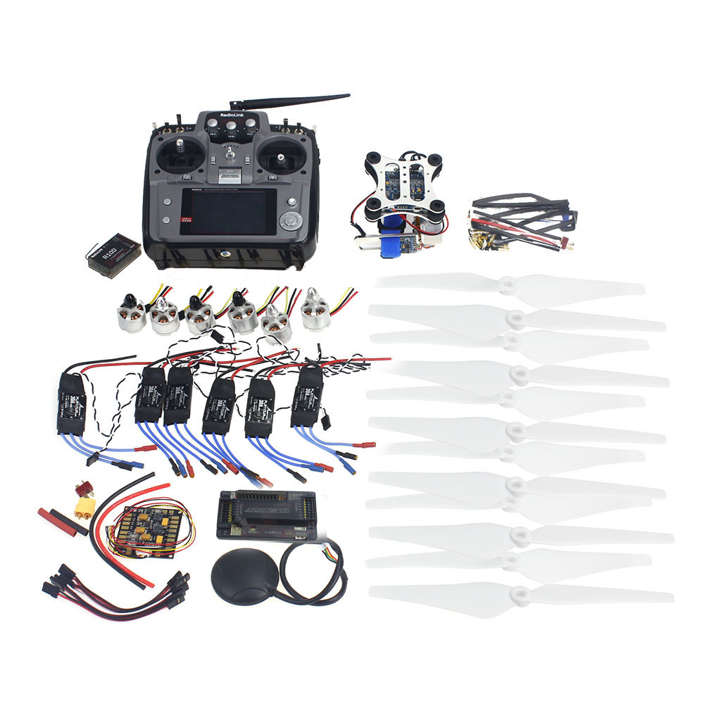F14711-I RC HexaCopter ARF Electronic: RadioLink AT10 TX&RX 920KV Brushless Motor 30A ESC Propeller GPS APM2.8 Camera Gimbal f15276 a rc hexacopter aircraft electronic kit 700kv brushless motor 30a esc 1255 propeller gps apm2 8 flight control diy drone