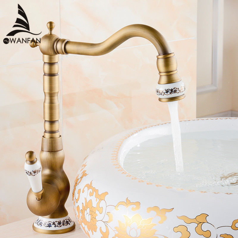 Wholesale And Retail Deck Mounted Single Handle Hole Bathroom Sink Mixer Faucet Antique Brass Hot and