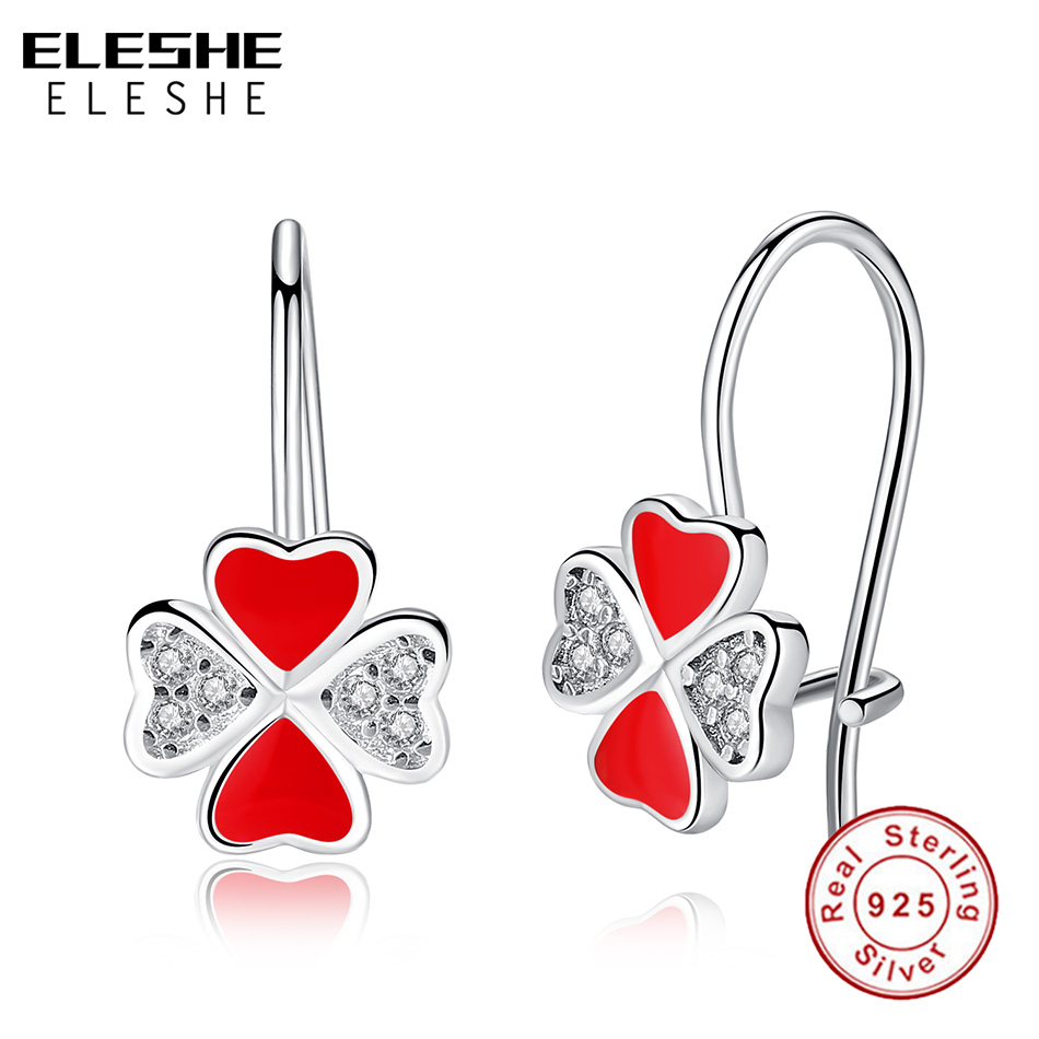 Four Clover Pendant Necklace Stud Earrings 925 Sterling Silver Womens Jewellery