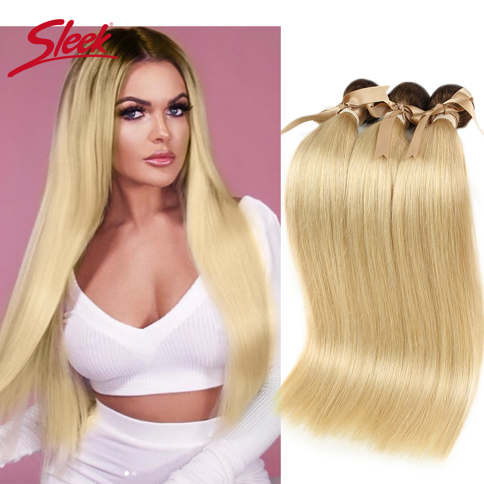 Sleek Colorful Hair Mink Brazilian Hair Weave Bundles10 To26 Inches Honey Blonde 613# Color Straight Bunles Remy Hair Extension