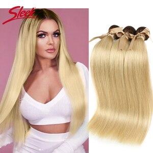 Image 1 - Sleek Bunte Haar Nerz Brasilianische Haarwebart Bundles10 To26 Zoll Honig Blonde 613 # Farbe Gerade Bunles Remy Haar Verlängerung