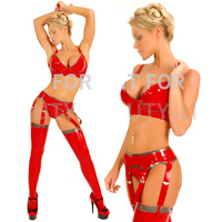 Latex sets fetish Lingerie bra underwear with stockings sexy trim color handmade