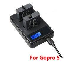 Cho Gopro 8 USB Sạc Pin Với Màn Hình LCD Dành Cho Gopro Hero 5 6 7 AHDBT 501 Pin Bảo Vệ Thông Minh sạc