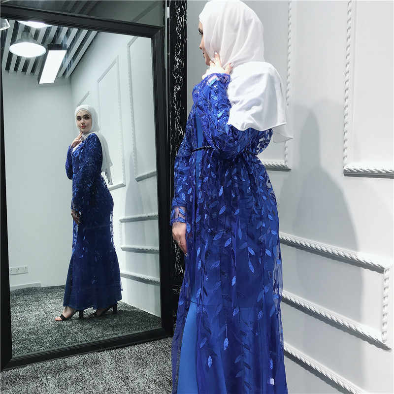 Кардиган листьев халат с вышивкой розовый Открыть Абая, для мусульман одежда Рамадан Для женщин сайт tesettur elbise ropa араб mujer красный Абаи s