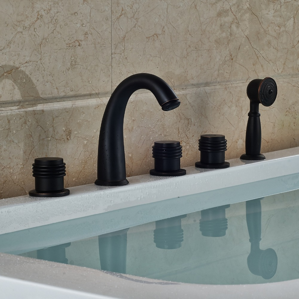 Oil Rubbed Bronze Finished Widespread 5pcs Bathtub Faucet Deck Mounted Mixer Tap With Hand Sprayer