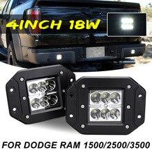4inch 18W Flush Mount Flood Backup Reverse Rear Bumper Led Lights for Dodge Ram 1500/2500/3500
