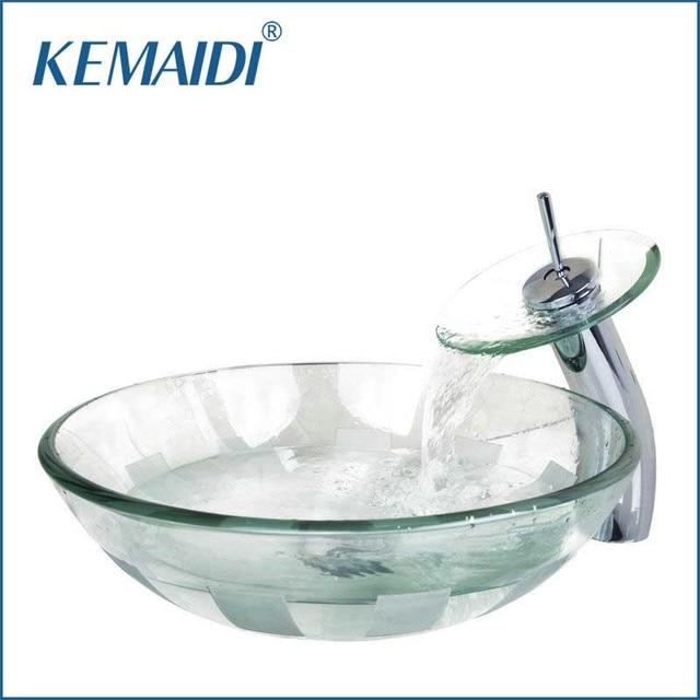 Kemaidi nuovo arrivo vittoria ciotola di vetro lavandino del bagno lavabo con rubinetto - Lavandino bagno vetro ...