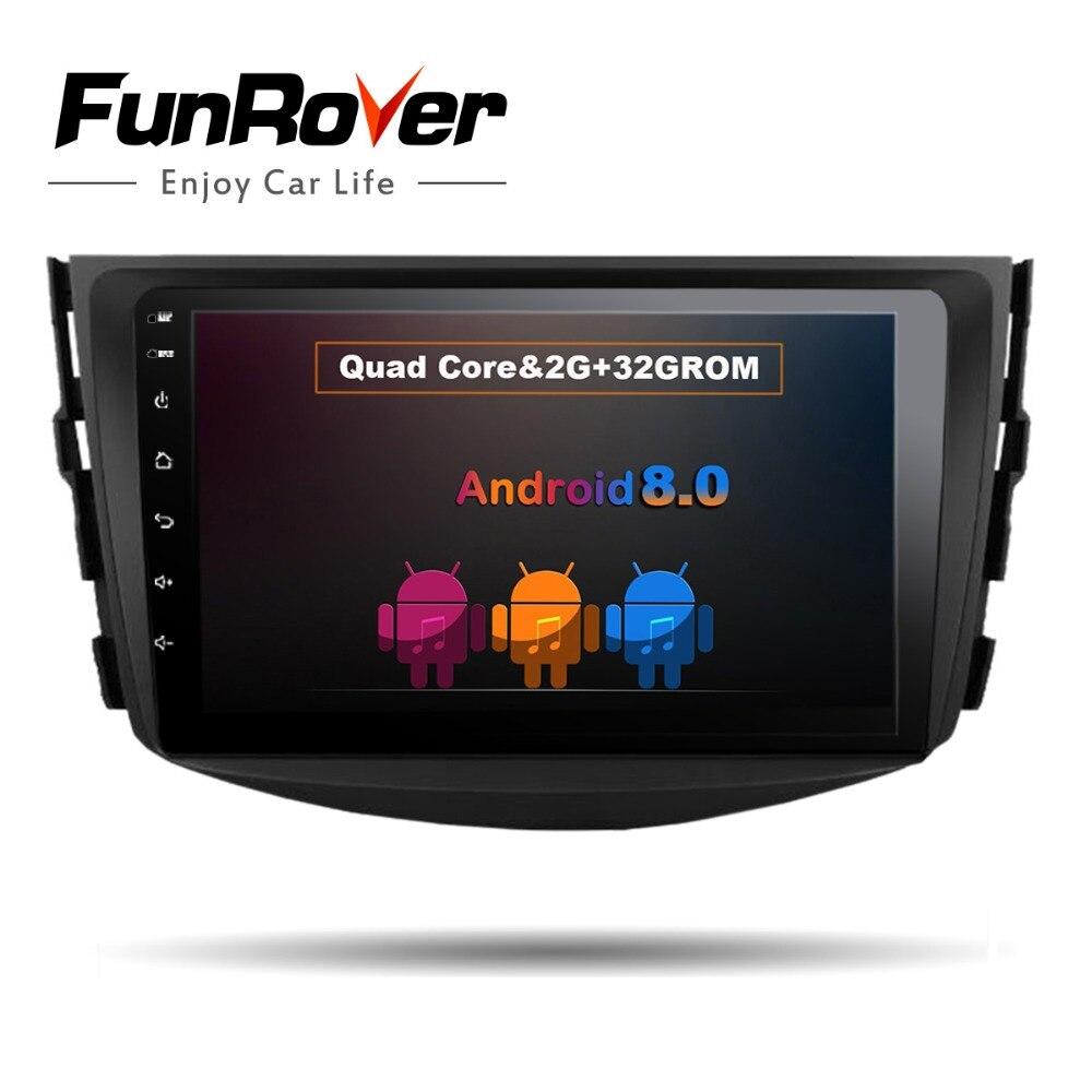Lecteur dvd de voiture Funrover IPS Android 8.0 2 din pour Toyota RAV4 Rav 4 2007 2008 2009 2010 2011 magnétophone gps wifi rds