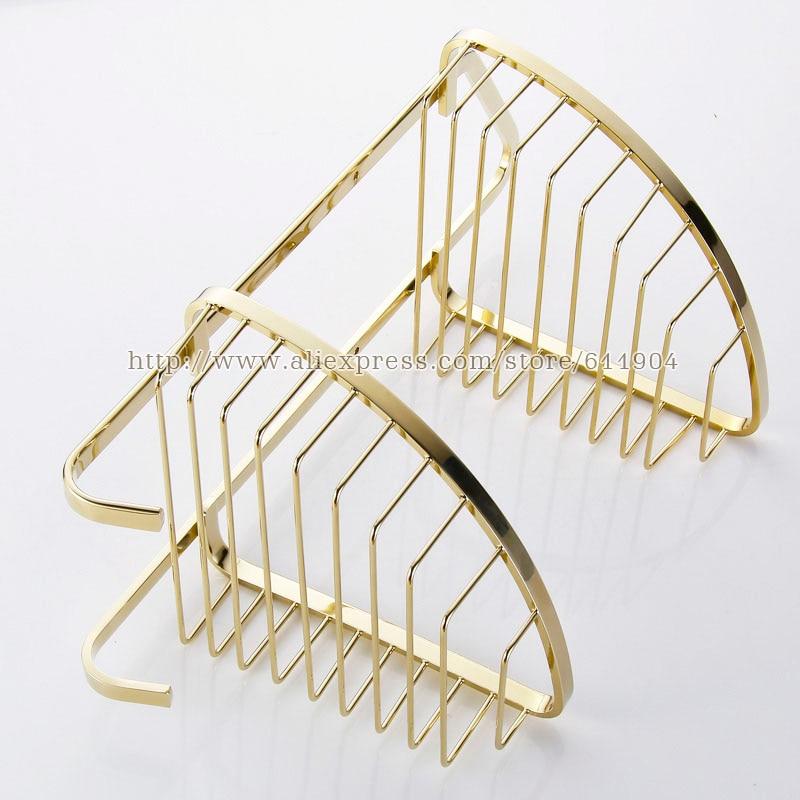Luxus Gold Farbe Bad Draht Ecke Korb Regal Doppelschicht Mit Zwei ...