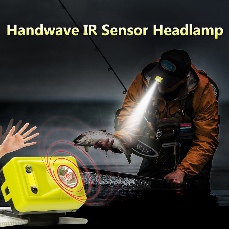 Shenyu Hand Wave IR Sensor Control Headlamp Rechargeable Headlight Flashlight for Running Camping Fishing Hunting and
