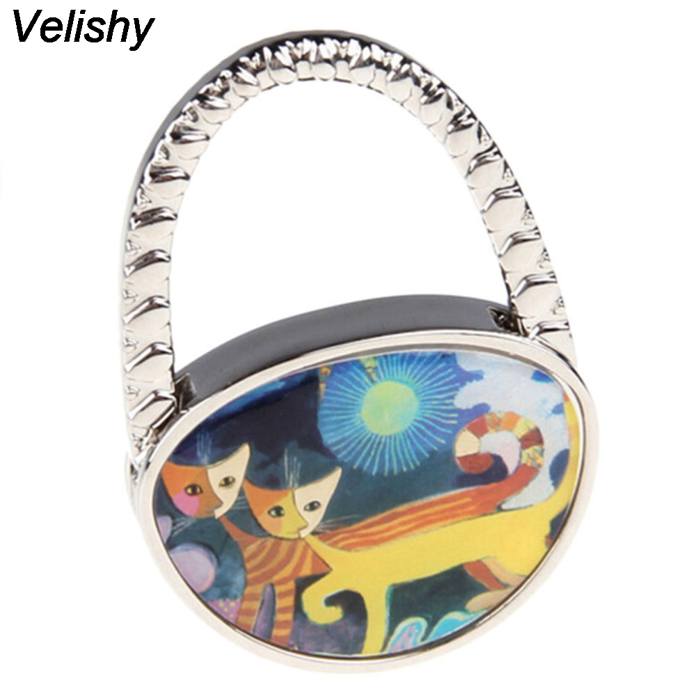 Velishy 1PC Cute Lovely Folding Foldable Cat Handbag Bag Purse Table Hook Hanger 65 x 45 mm Holder swiss blue crystal handbag purse hook hanger