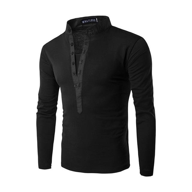 Nueva Tendencia Negro Camisa de Polo Hombre Polo Homme 2016 Otoño Moda Mens Slim Fit Manga Larga Henley Camisa Casual Polos de Algodón Xxl