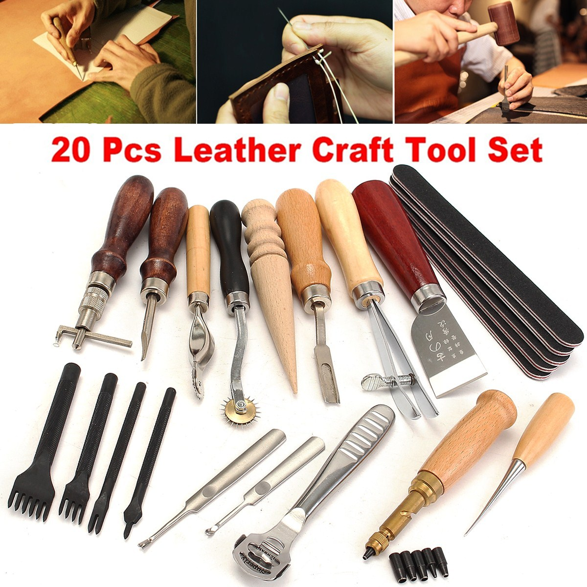 18Pcs Leather Craft Punch Tools Kit SET Stitching Carving Working Sewing Saddle Groover Leather Craft Tools Set