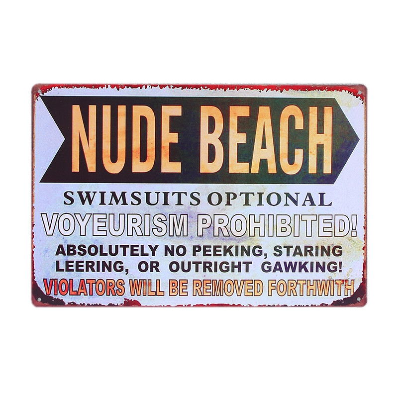 Nude Beach Vintage Metal Tin Sign Home Bar Pub Cafe Decor Wall Sticker Decoration Metal Art Poster Iron Plate 30x20cm image