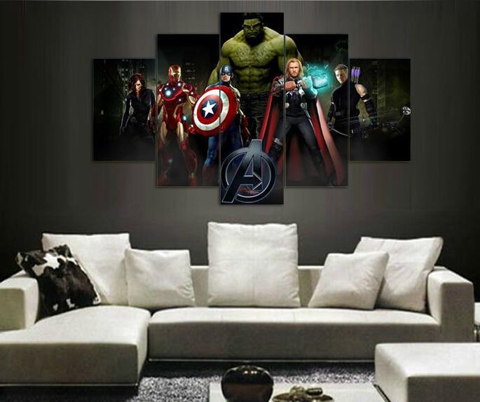 Afgedrukt van de film avengers groep schilderij op doek kamer decoratie afdrukken poster foto - Schilderij kamer ontwerp ...