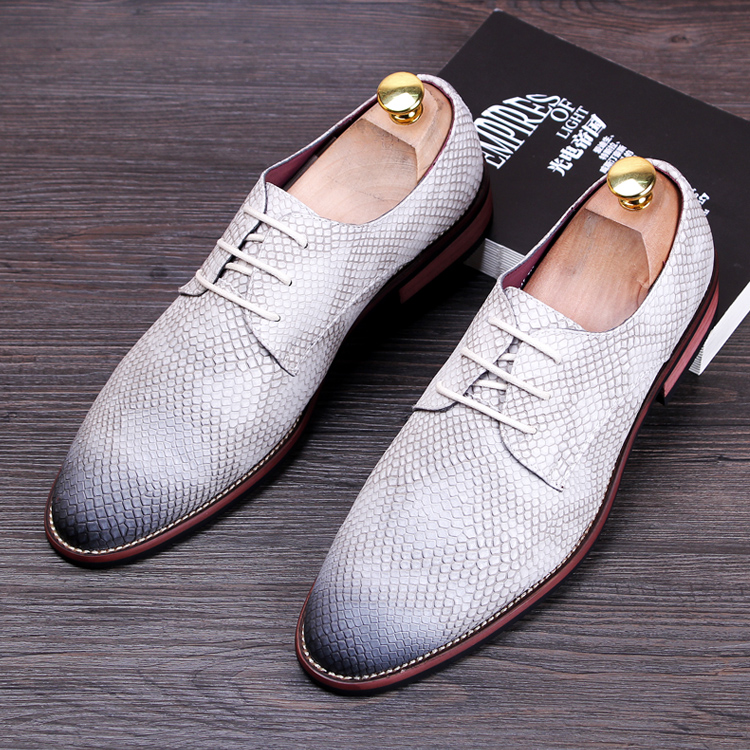 men fashion business dress snake grain print genuine leather shoes wedding party nightclub oxfords flats shoe soft comfort lace