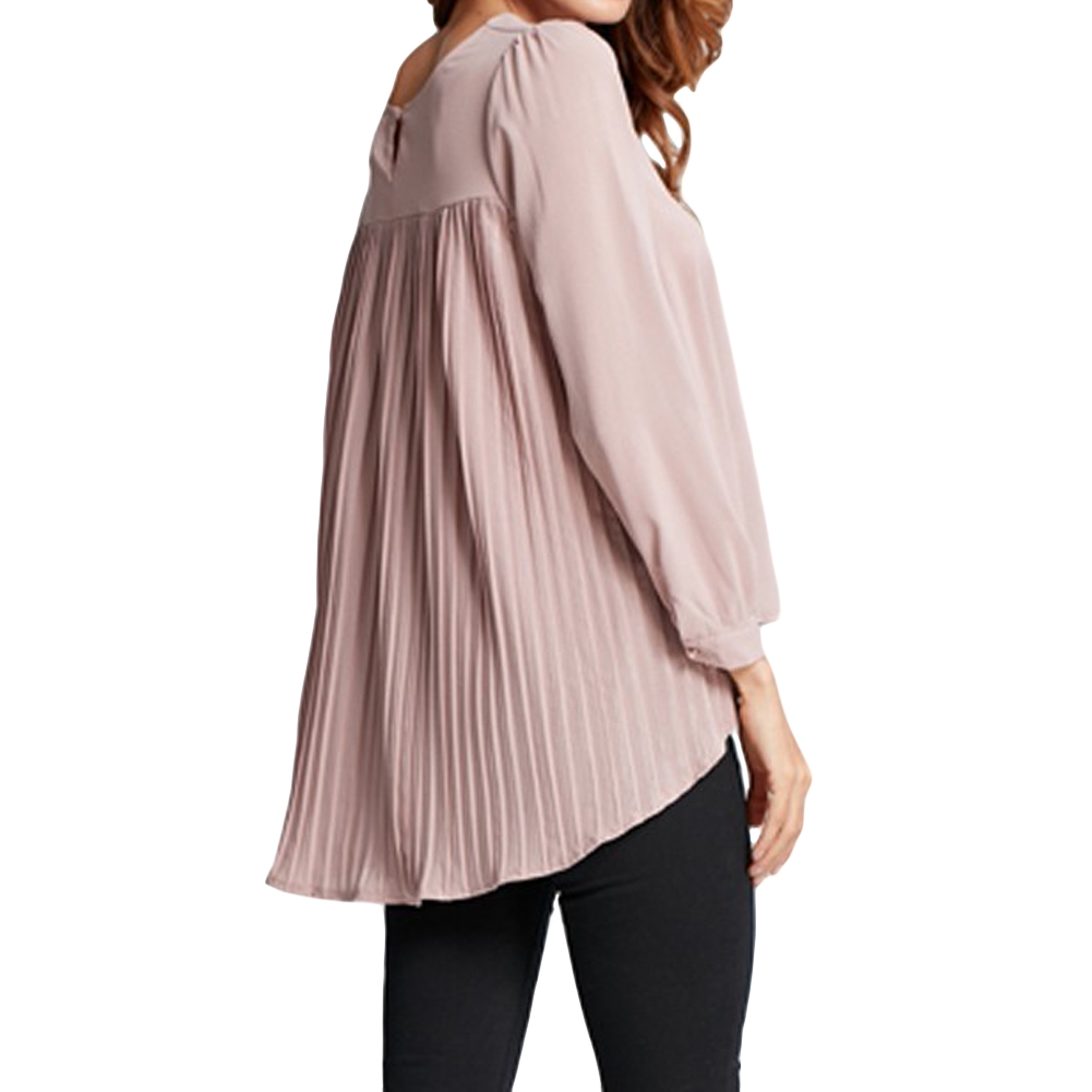 4XL 5XL Для женщин Шифоновая блузка плиссированные назад с длинным рукавом Асимметричная рубашка свободные Повседневное плюс Размеры рубашку над Размеры D Топы корректирующие женские 2017