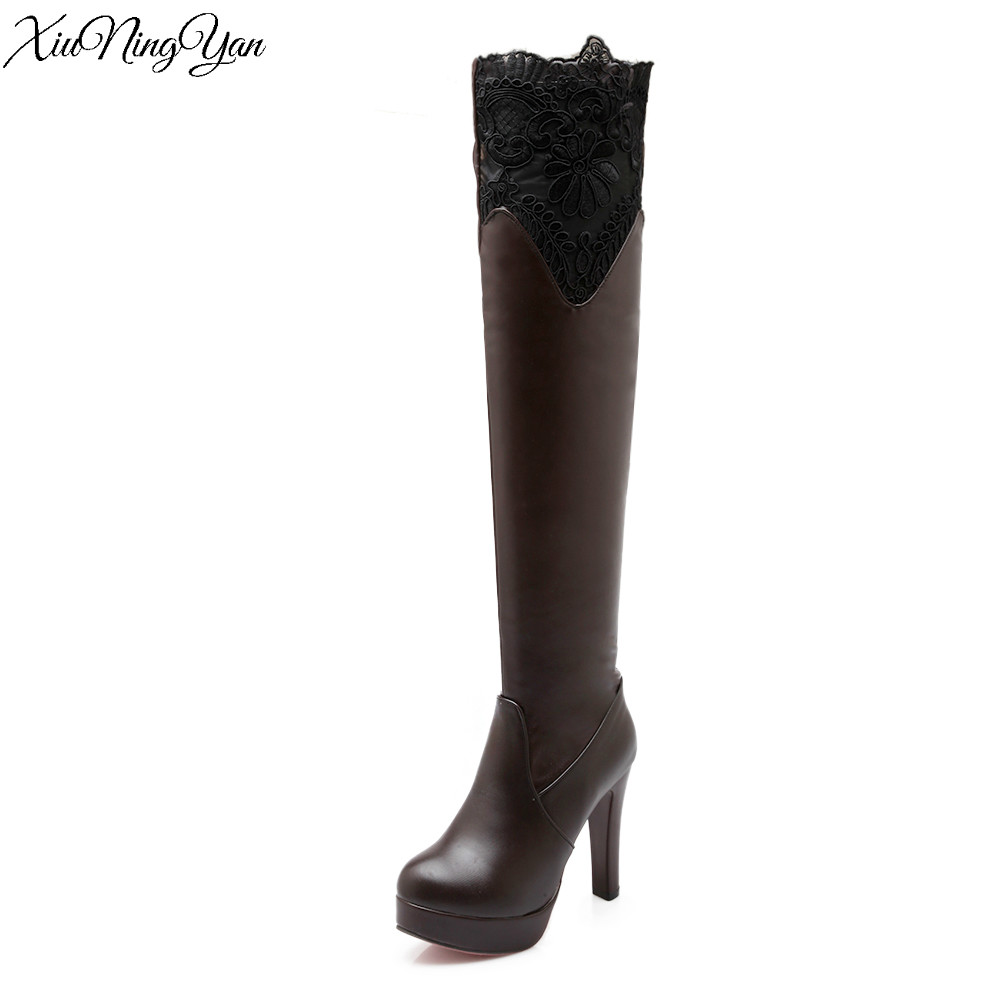 9b6072c17238 Women Boots Sexy Red Bottom Thigh High Boots Platform Thin Heels Shoes Woman  Over the Knee Boots Size 34-43 White Black a33-4