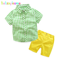 2PCS/3-7Years/Summer Baby Boys Clothes Gentleman Kids Suits Casual Green Plaid Shirt+Yellow Shorts Children Clothing Sets BC1151